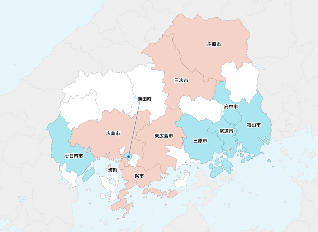 25広島県聖火リレーマップ